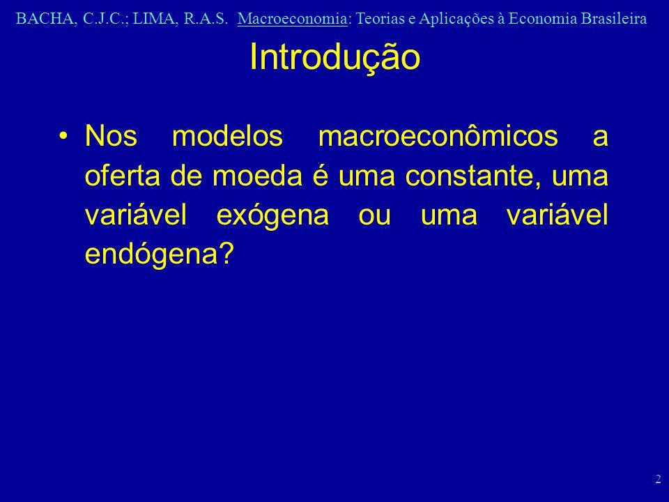 BACHA, C.J.C.; LIMA, R.A.S. Macroeconomia: Teorias e Aplicações à Economia Brasileira 2 Nos modelos macroeconômicos a oferta de moeda é uma constante,