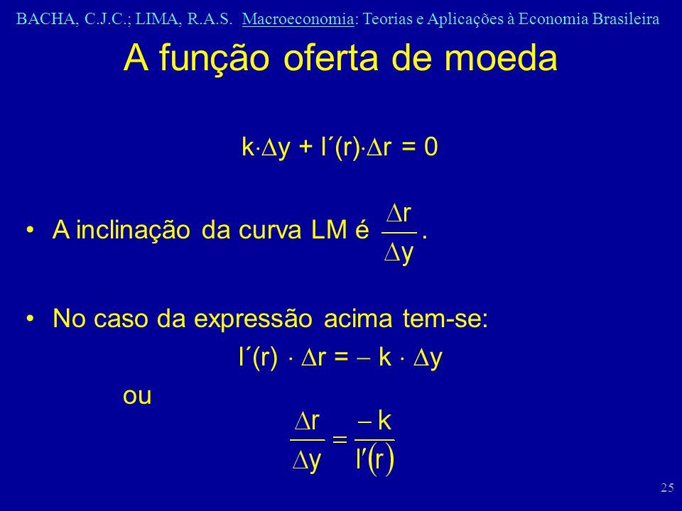 BACHA, C.J.C.; LIMA, R.A.S. Macroeconomia: Teorias e Aplicações à Economia Brasileira 25 A função oferta de moeda k y + l´(r) r = 0 A inclinação da cu