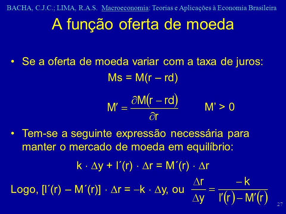 BACHA, C.J.C.; LIMA, R.A.S. Macroeconomia: Teorias e Aplicações à Economia Brasileira 27 A função oferta de moeda Se a oferta de moeda variar com a ta