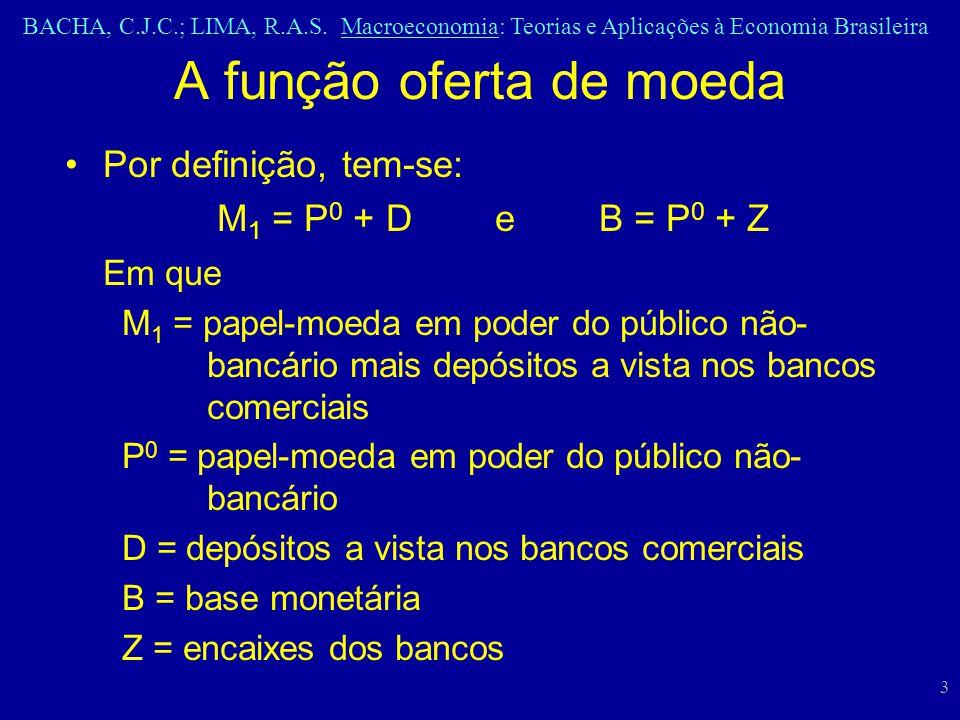 BACHA, C.J.C.; LIMA, R.A.S. Macroeconomia: Teorias e Aplicações à Economia Brasileira 3 Por definição, tem-se: M 1 = P 0 + D e B = P 0 + Z Em que M 1