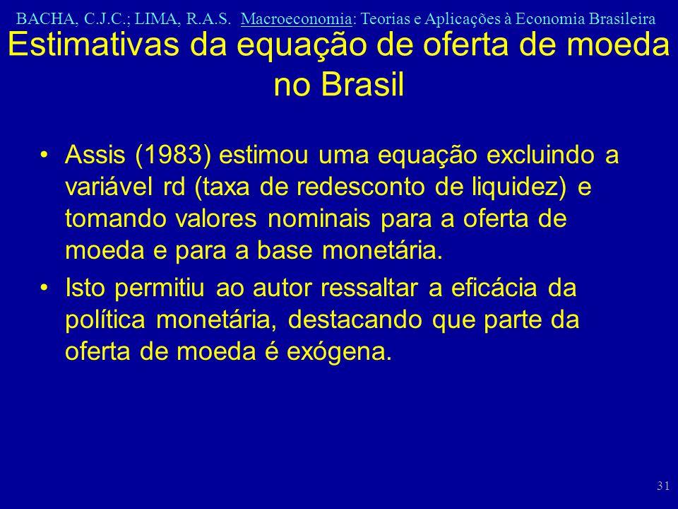 BACHA, C.J.C.; LIMA, R.A.S. Macroeconomia: Teorias e Aplicações à Economia Brasileira 31 Assis (1983) estimou uma equação excluindo a variável rd (tax