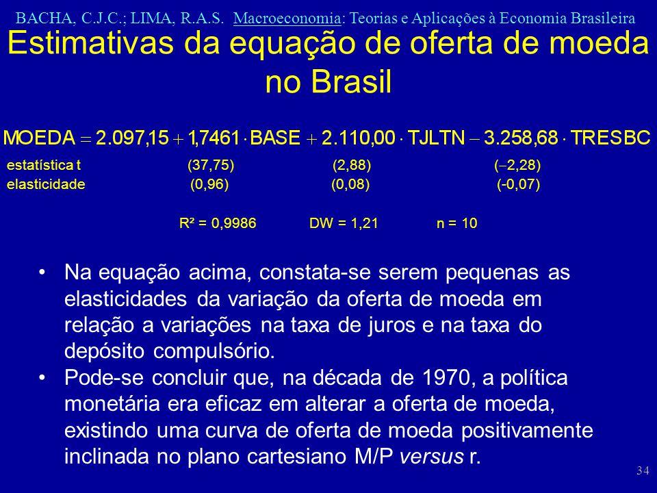 BACHA, C.J.C.; LIMA, R.A.S. Macroeconomia: Teorias e Aplicações à Economia Brasileira 34 estatística t (37,75) (2,88) ( 2,28) elasticidade (0,96) (0,0