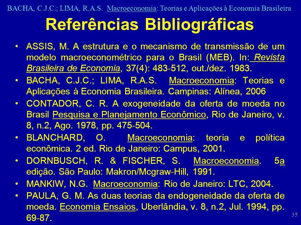 BACHA, C.J.C.; LIMA, R.A.S. Macroeconomia: Teorias e Aplicações à Economia Brasileira 35 Referências Bibliográficas ASSIS, M. A estrutura e o mecanism