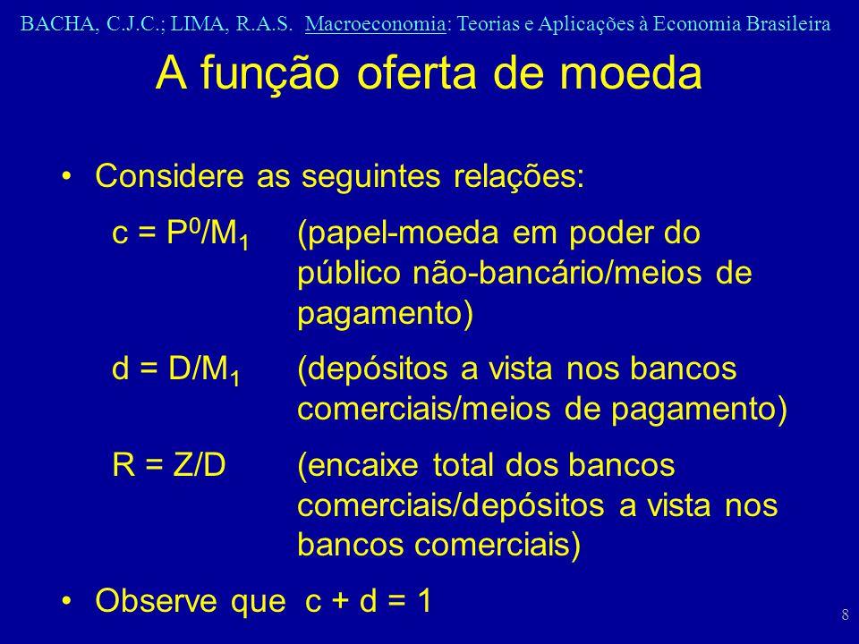 BACHA, C.J.C.; LIMA, R.A.S. Macroeconomia: Teorias e Aplicações à Economia Brasileira 8 Considere as seguintes relações: c = P 0 /M 1 (papel-moeda em