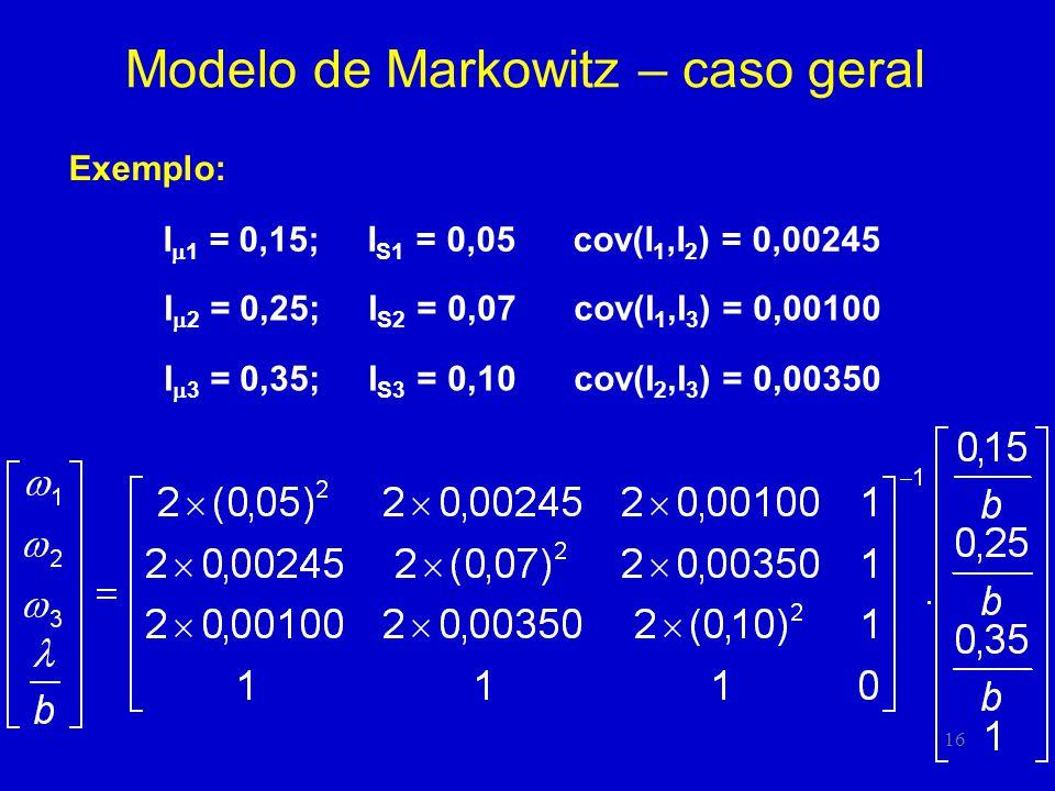 16 Modelo de Markowitz – caso geral Exemplo: I 1 = 0,15; I S1 = 0,05 cov(I 1,I 2 ) = 0,00245 I 2 = 0,25; I S2 = 0,07 cov(I 1,I 3 ) = 0,00100 I 3 = 0,35; I S3 = 0,10 cov(I 2,I 3 ) = 0,00350