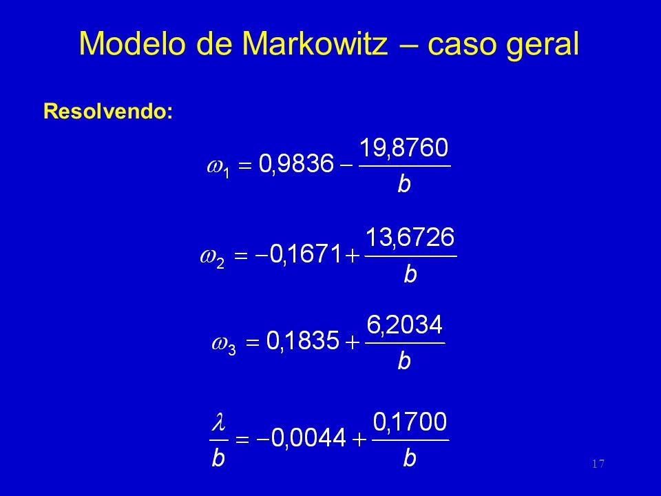 17 Modelo de Markowitz – caso geral Resolvendo: