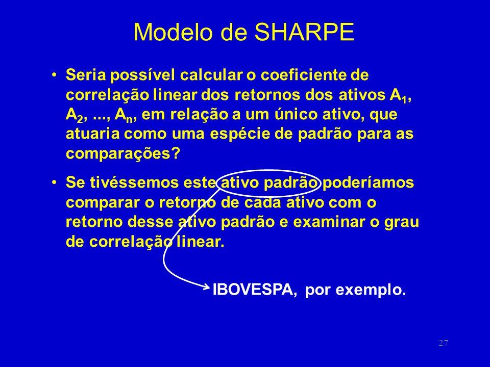 27 Modelo de SHARPE Seria possível calcular o coeficiente de correlação linear dos retornos dos ativos A 1, A 2,..., A n, em relação a um único ativo, que atuaria como uma espécie de padrão para as comparações.