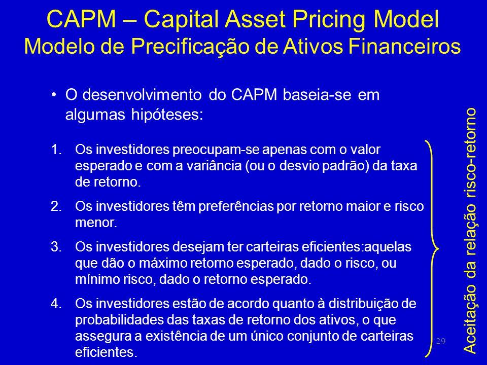 29 CAPM – Capital Asset Pricing Model Modelo de Precificação de Ativos Financeiros O desenvolvimento do CAPM baseia-se em algumas hipóteses: 1.Os investidores preocupam-se apenas com o valor esperado e com a variância (ou o desvio padrão) da taxa de retorno.