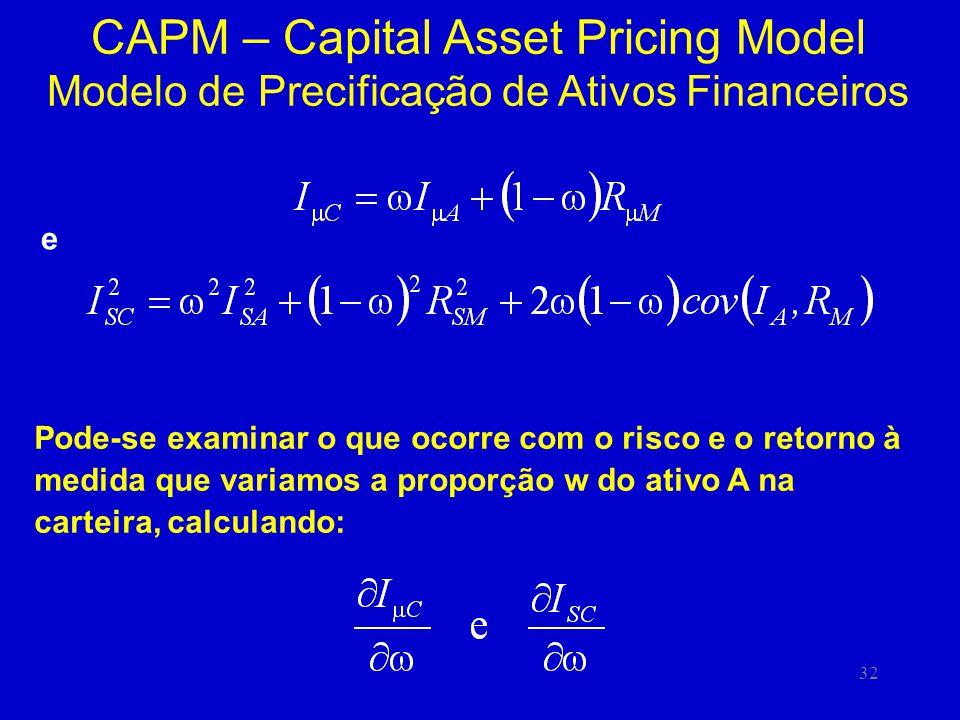 32 CAPM – Capital Asset Pricing Model Modelo de Precificação de Ativos Financeiros Pode-se examinar o que ocorre com o risco e o retorno à medida que variamos a proporção w do ativo A na carteira, calculando: e