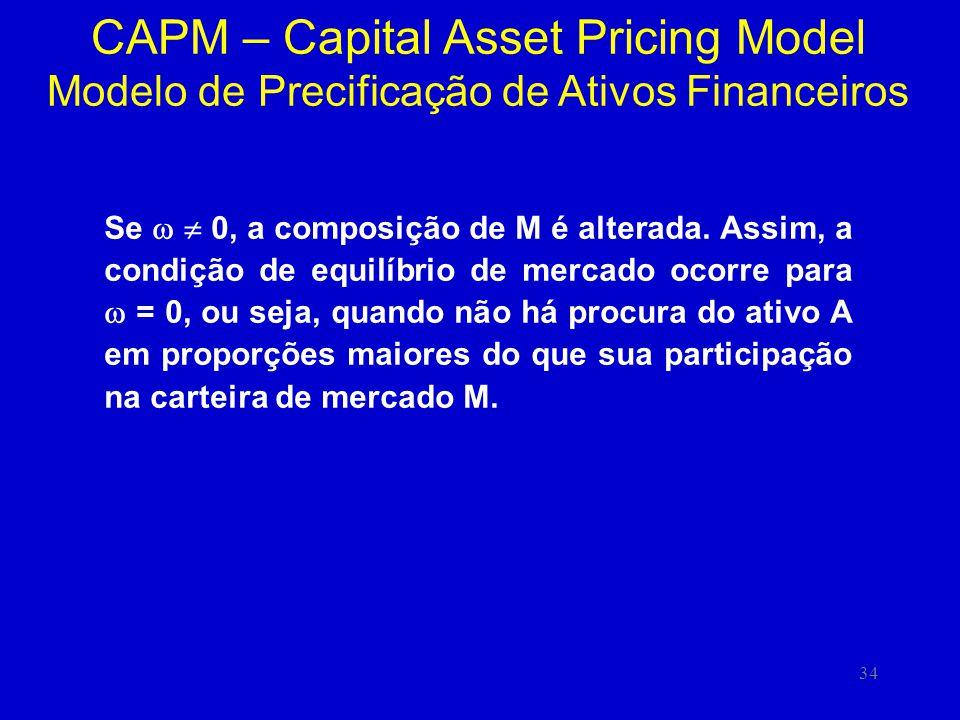 34 CAPM – Capital Asset Pricing Model Modelo de Precificação de Ativos Financeiros Se 0, a composição de M é alterada. Assim, a condição de equilíbrio