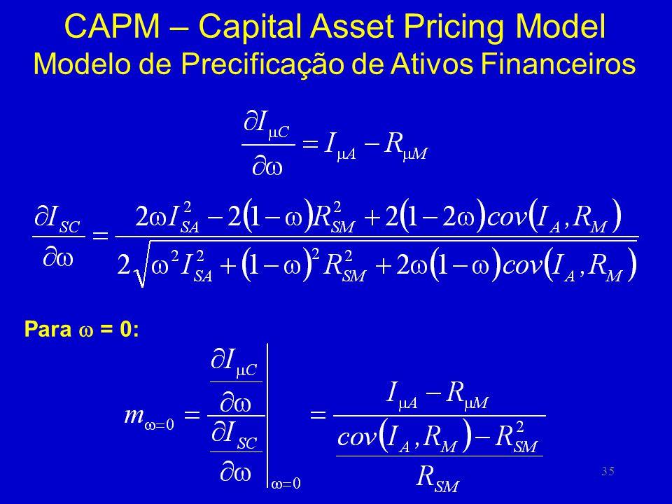 35 CAPM – Capital Asset Pricing Model Modelo de Precificação de Ativos Financeiros Para = 0: