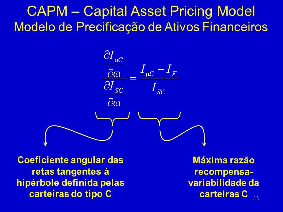 38 CAPM – Capital Asset Pricing Model Modelo de Precificação de Ativos Financeiros Coeficiente angular das retas tangentes à hipérbole definida pelas carteiras do tipo C Máxima razão recompensa- variabilidade da carteiras C