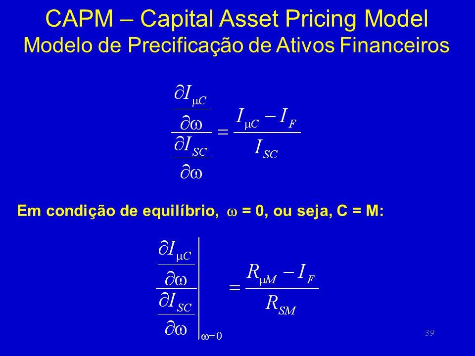 39 CAPM – Capital Asset Pricing Model Modelo de Precificação de Ativos Financeiros Em condição de equilíbrio, = 0, ou seja, C = M: