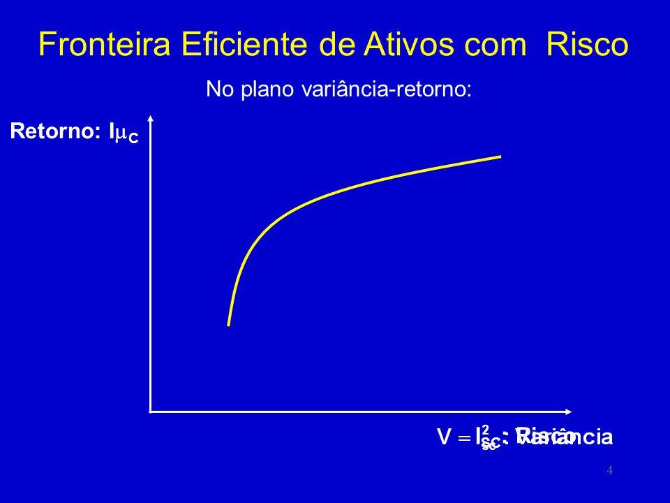 5 Fronteira Eficiente de Ativos com Risco Retorno: I C P r1r1 a1a1 r a Dentre todas as retas que têm um único ponto em comum com a curva, a equação da reta tangente deverá ter o mínimo valor para o termo independente a.