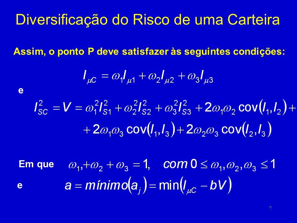 7 Diversificação do Risco de uma Carteira Assim, o ponto P deve satisfazer às seguintes condições: Em que e e