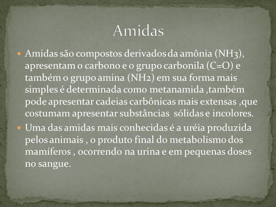 Amidas são compostos derivados da amônia (NH3), apresentam o carbono e o grupo carbonila (C=O) e também o grupo amina (NH2) em sua forma mais simples