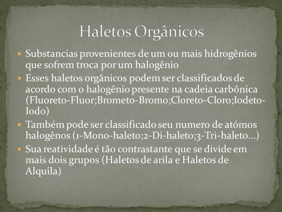 Substancias provenientes de um ou mais hidrogênios que sofrem troca por um halogênio Esses haletos orgânicos podem ser classificados de acordo com o h