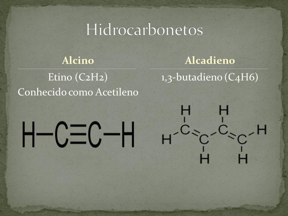 Alcino Etino (C2H2) Conhecido como Acetileno 1,3-butadieno (C4H6) Alcadieno