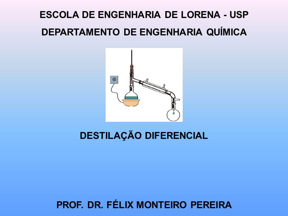 ESCOLA DE ENGENHARIA DE LORENA - USP DEPARTAMENTO DE ENGENHARIA QUÍMICA DESTILAÇÃO DIFERENCIAL PROF.