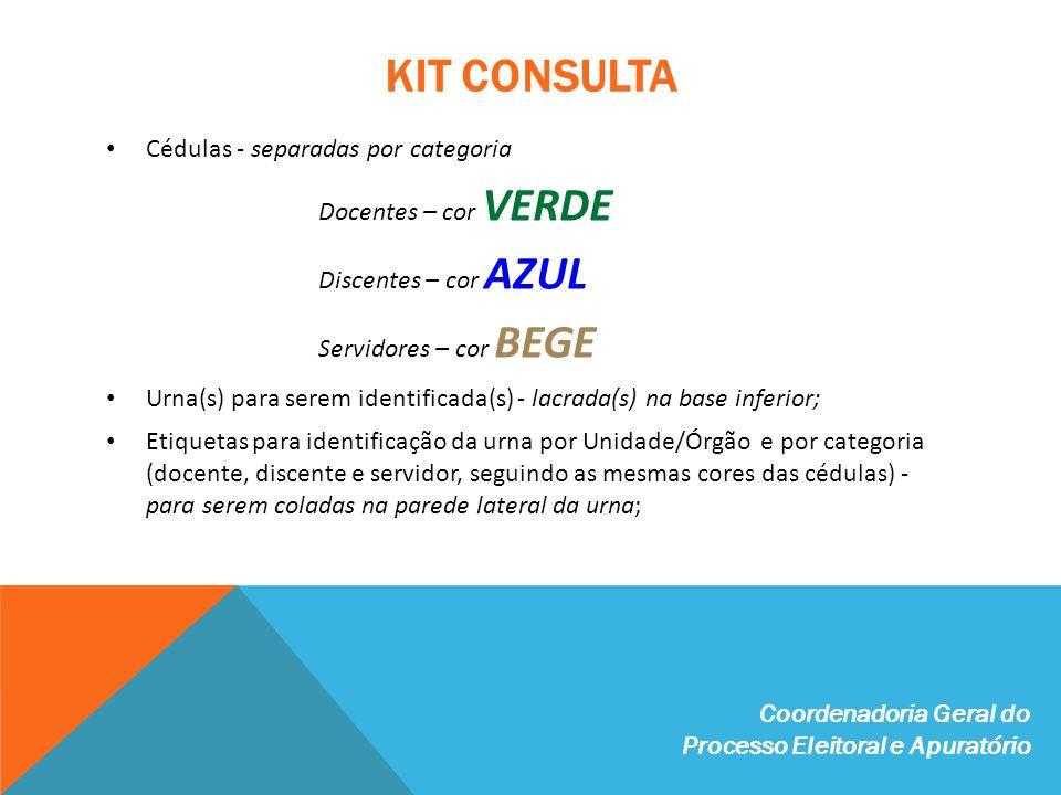 KIT CONSULTA Cédulas - separadas por categoria Docentes – cor VERDE Discentes – cor AZUL Servidores – cor BEGE Urna(s) para serem identificada(s) - lacrada(s) na base inferior; Etiquetas para identificação da urna por Unidade/Órgão e por categoria (docente, discente e servidor, seguindo as mesmas cores das cédulas) - para serem coladas na parede lateral da urna; Coordenadoria Geral do Processo Eleitoral e Apuratório
