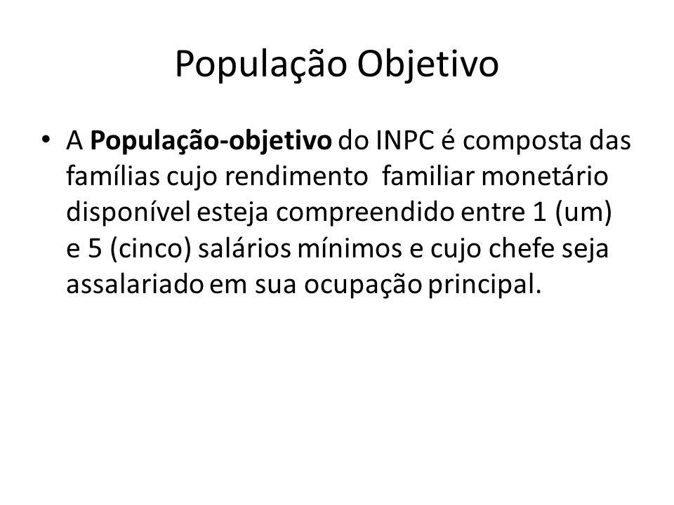 População Objetivo A População-objetivo do INPC é composta das famílias cujo rendimento familiar monetário disponível esteja compreendido entre 1 (um) e 5 (cinco) salários mínimos e cujo chefe seja assalariado em sua ocupação principal.