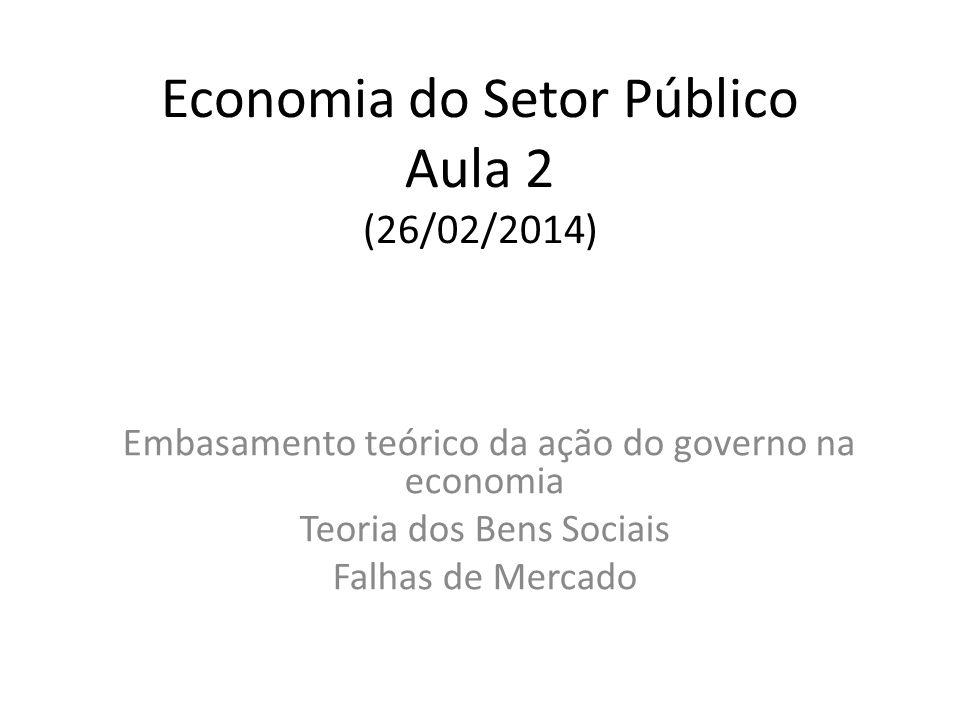 Economia do Setor Público Aula 2 (26/02/2014) Embasamento teórico da ação do governo na economia Teoria dos Bens Sociais Falhas de Mercado