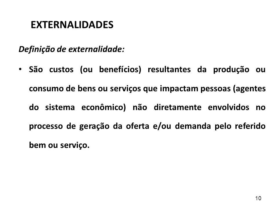 EXTERNALIDADES Definição de externalidade: São custos (ou benefícios) resultantes da produção ou consumo de bens ou serviços que impactam pessoas (age