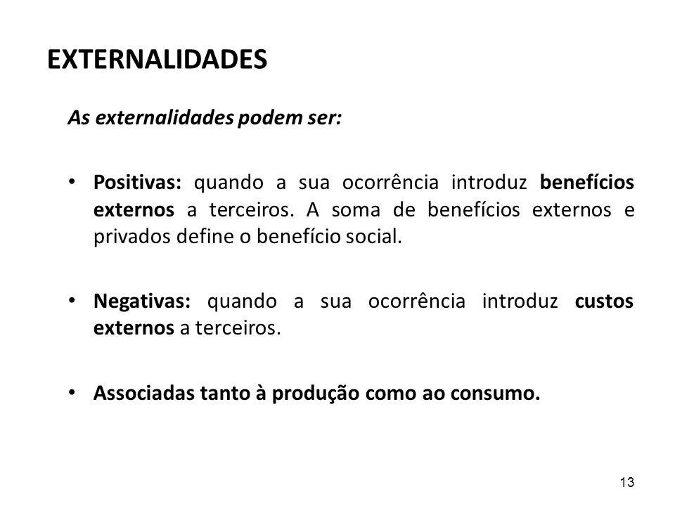EXTERNALIDADES As externalidades podem ser: Positivas: quando a sua ocorrência introduz benefícios externos a terceiros. A soma de benefícios externos