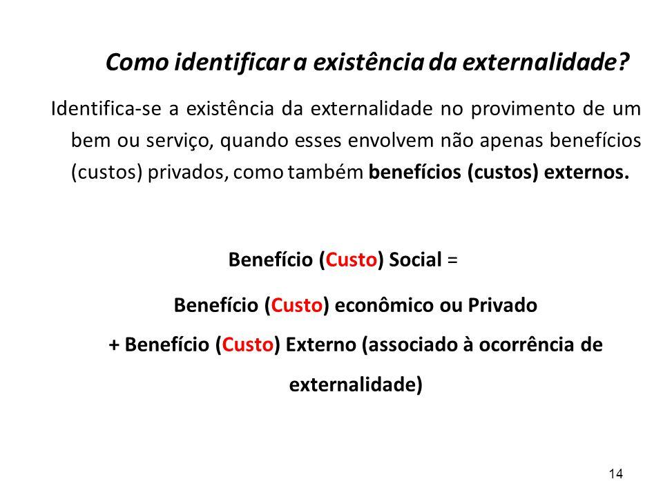 Como identificar a existência da externalidade? Identifica-se a existência da externalidade no provimento de um bem ou serviço, quando esses envolvem