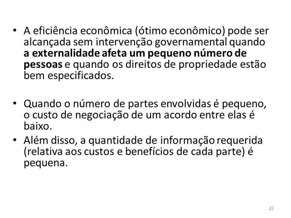 Em que situações as externalidades passam a exigir intervençã A eficiência econômica (ótimo econômico) pode ser alcançada sem intervenção governamenta