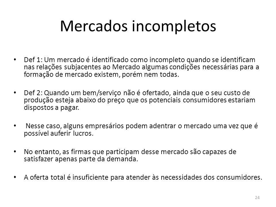 Mercados incompletos Def 1: Um mercado é identificado como incompleto quando se identificam nas relações subjacentes ao Mercado algumas condições nece