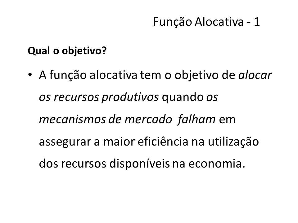 Função Alocativa - 1 Qual o objetivo? A função alocativa tem o objetivo de alocar os recursos produtivos quando os mecanismos de mercado falham em ass