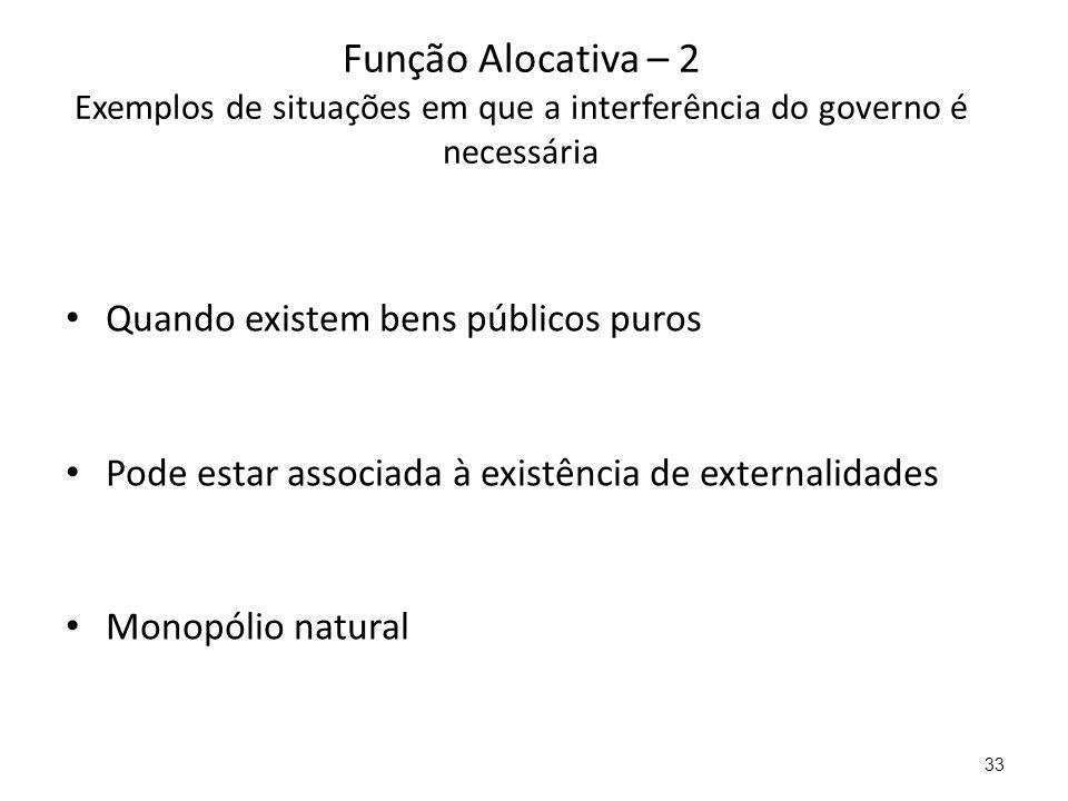 Função Alocativa – 2 Exemplos de situações em que a interferência do governo é necessária Quando existem bens públicos puros Pode estar associada à ex