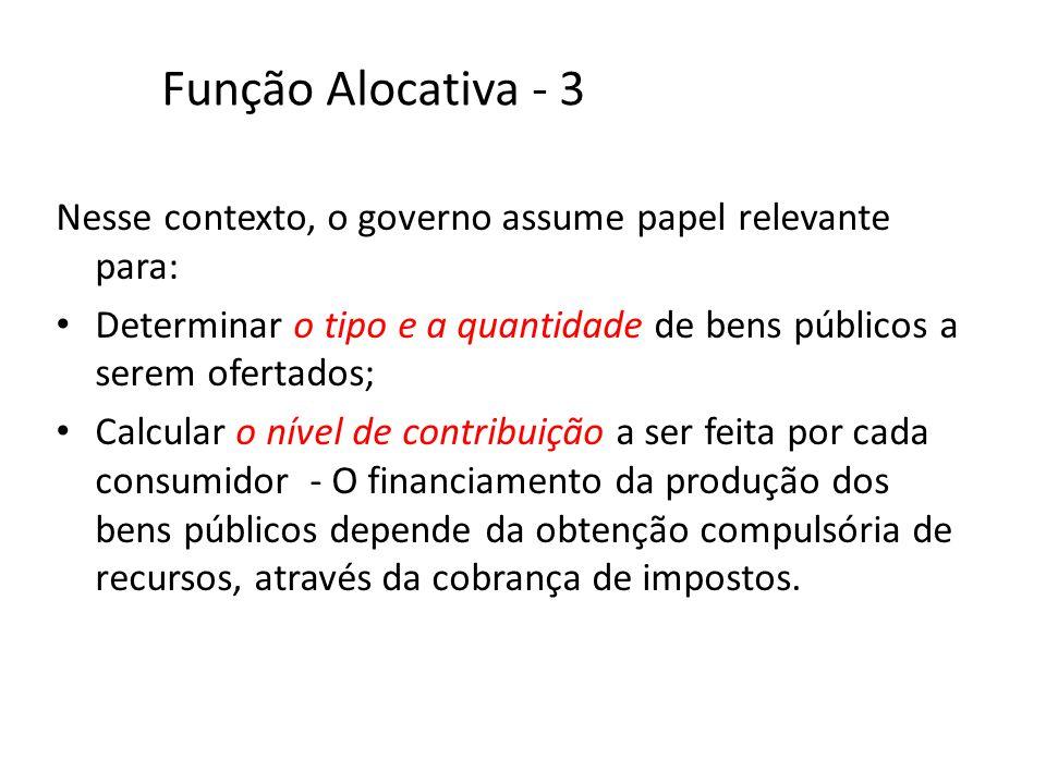 Função Alocativa - 3 Nesse contexto, o governo assume papel relevante para: Determinar o tipo e a quantidade de bens públicos a serem ofertados; Calcu
