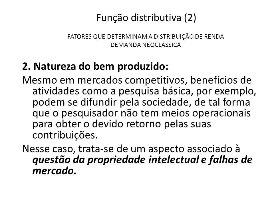 Função distributiva (2) FATORES QUE DETERMINAM A DISTRIBUIÇÃO DE RENDA DEMANDA NEOCLÁSSICA 2. Natureza do bem produzido: Mesmo em mercados competitivo