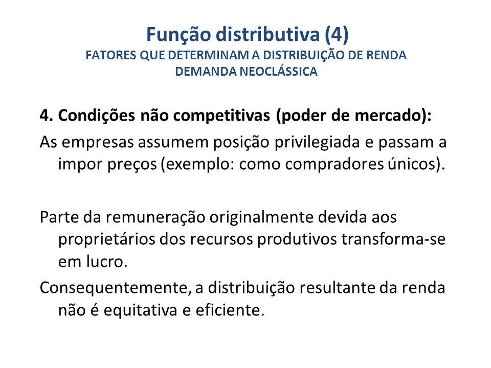 4. Condições não competitivas (poder de mercado): As empresas assumem posição privilegiada e passam a impor preços (exemplo: como compradores únicos).