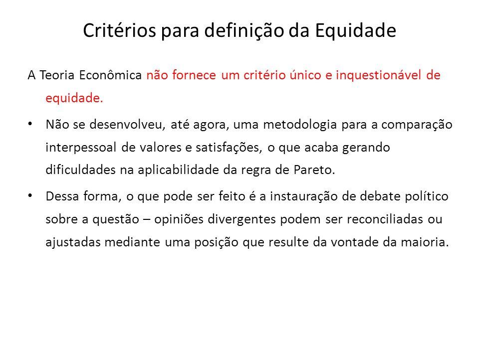Critérios para definição da Equidade A Teoria Econômica não fornece um critério único e inquestionável de equidade. Não se desenvolveu, até agora, uma