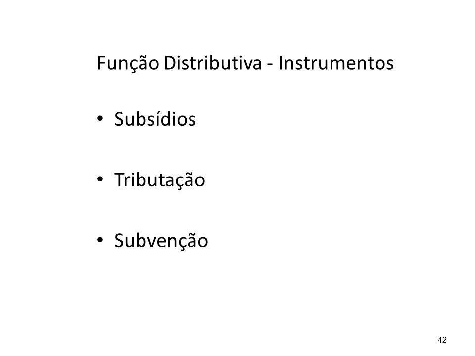 Função Distributiva - Instrumentos Subsídios Tributação Subvenção 42