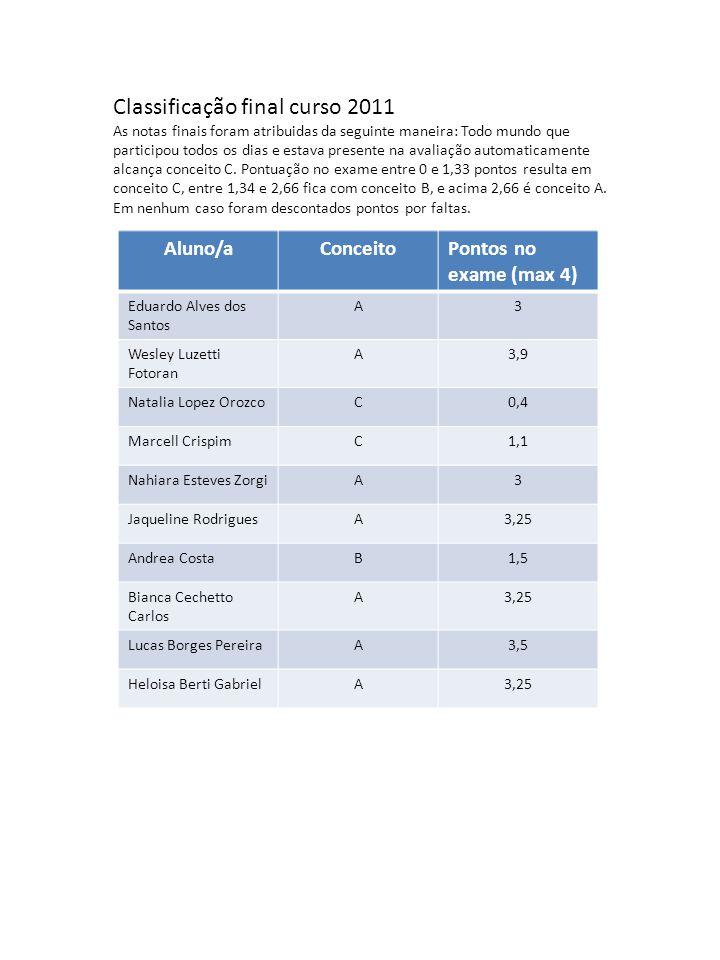 Classificação final curso 2011 As notas finais foram atribuidas da seguinte maneira: Todo mundo que participou todos os dias e estava presente na avaliação automaticamente alcança conceito C.