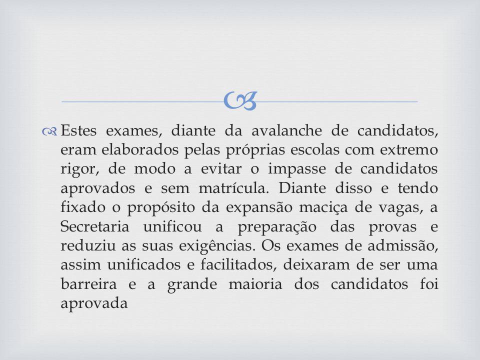 Estes exames, diante da avalanche de candidatos, eram elaborados pelas próprias escolas com extremo rigor, de modo a evitar o impasse de candidatos aprovados e sem matrícula.