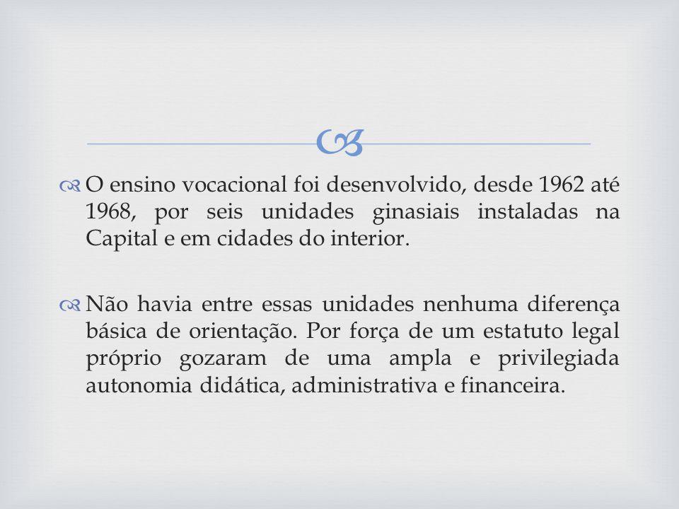 O ensino vocacional foi desenvolvido, desde 1962 até 1968, por seis unidades ginasiais instaladas na Capital e em cidades do interior.