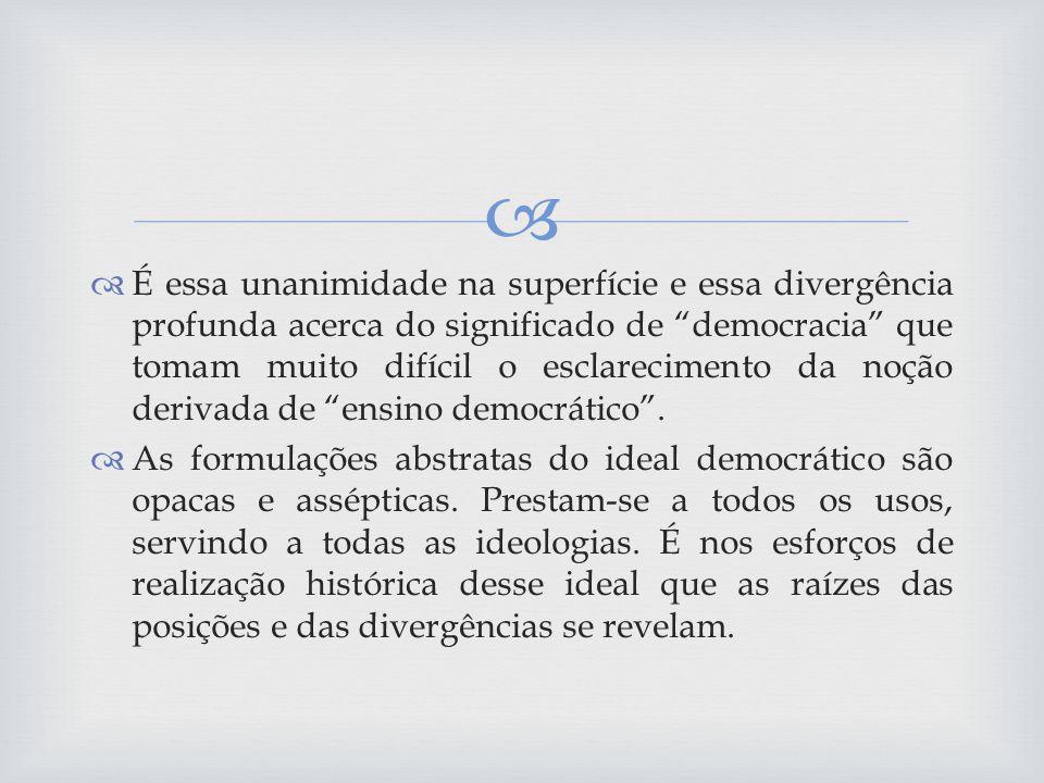 Embora a pregação da democratização do ensino seja antiga e constante no pensamento brasileiro, sempre que ocorreu uma maciça extensão das oportunidades educativas os educadores sentiram-se chocados no seu zelo pedagógico.