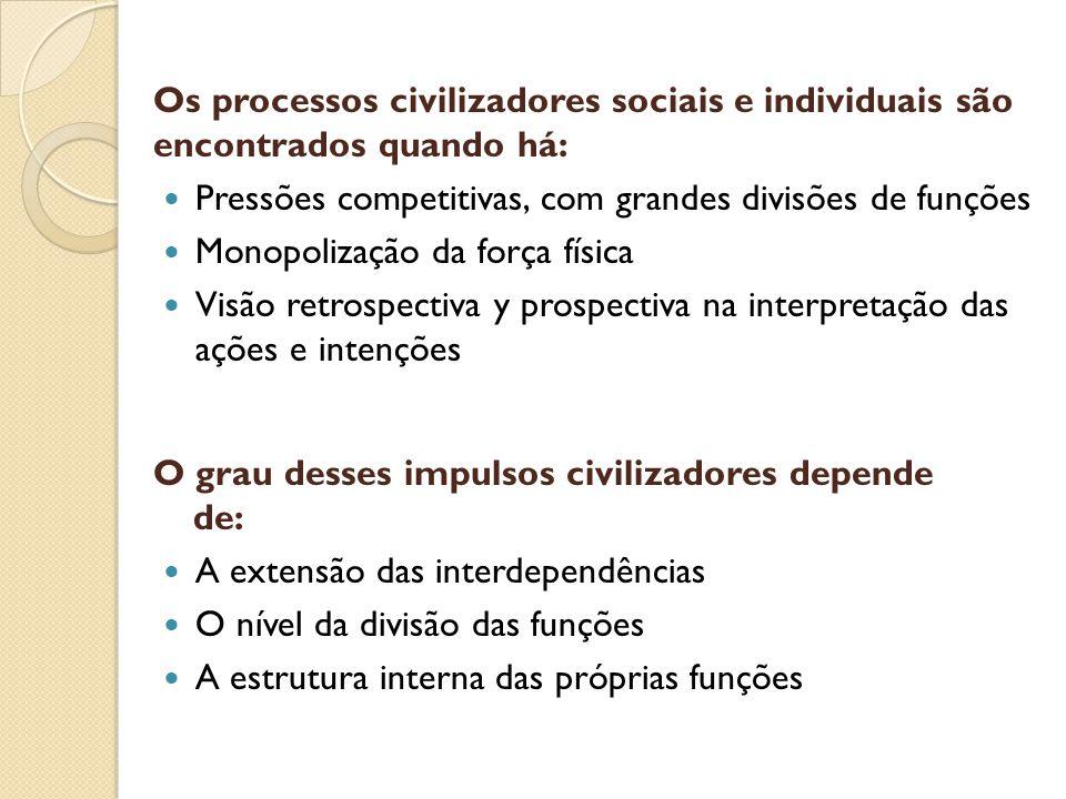 Os processos civilizadores sociais e individuais são encontrados quando há: Pressões competitivas, com grandes divisões de funções Monopolização da fo