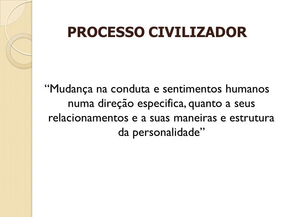 PROCESSO CIVILIZADOR Mudança na conduta e sentimentos humanos numa direção especifica, quanto a seus relacionamentos e a suas maneiras e estrutura da personalidade