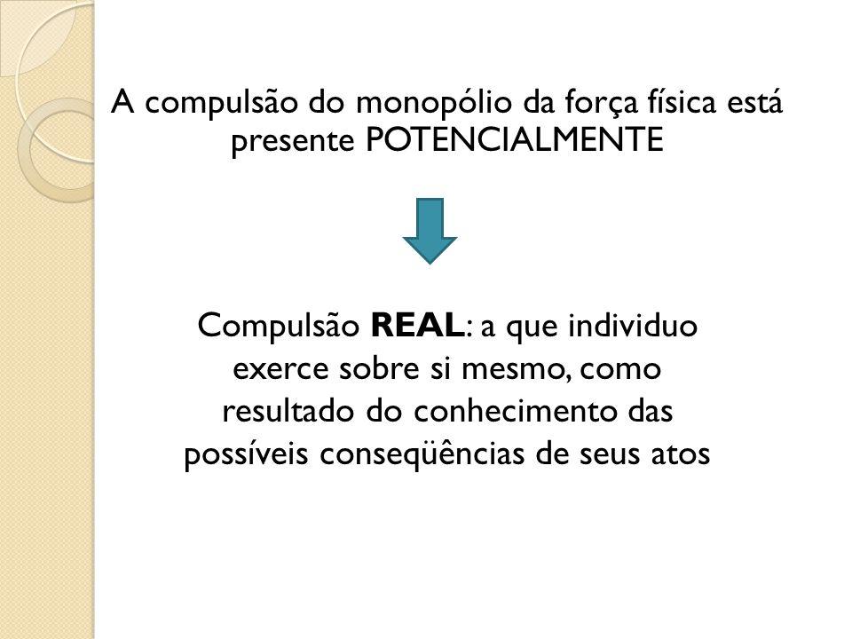 A compulsão do monopólio da força física está presente POTENCIALMENTE Compulsão REAL: a que individuo exerce sobre si mesmo, como resultado do conhecimento das possíveis conseqüências de seus atos