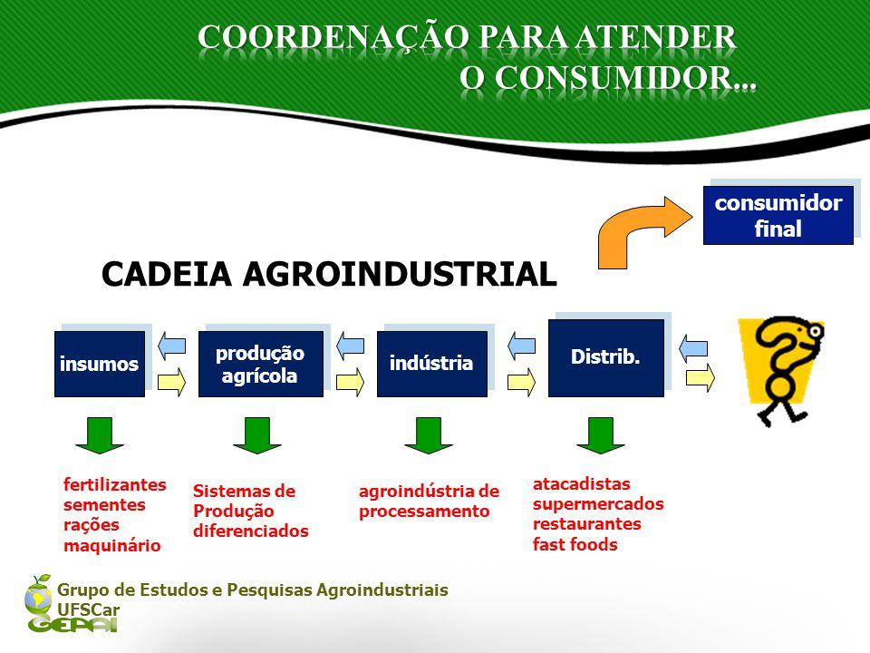 Grupo de Estudos e Pesquisas Agroindustriais UFSCar produção agrícola produção agrícola insumos Distrib. indústria fertilizantes sementes rações maqui