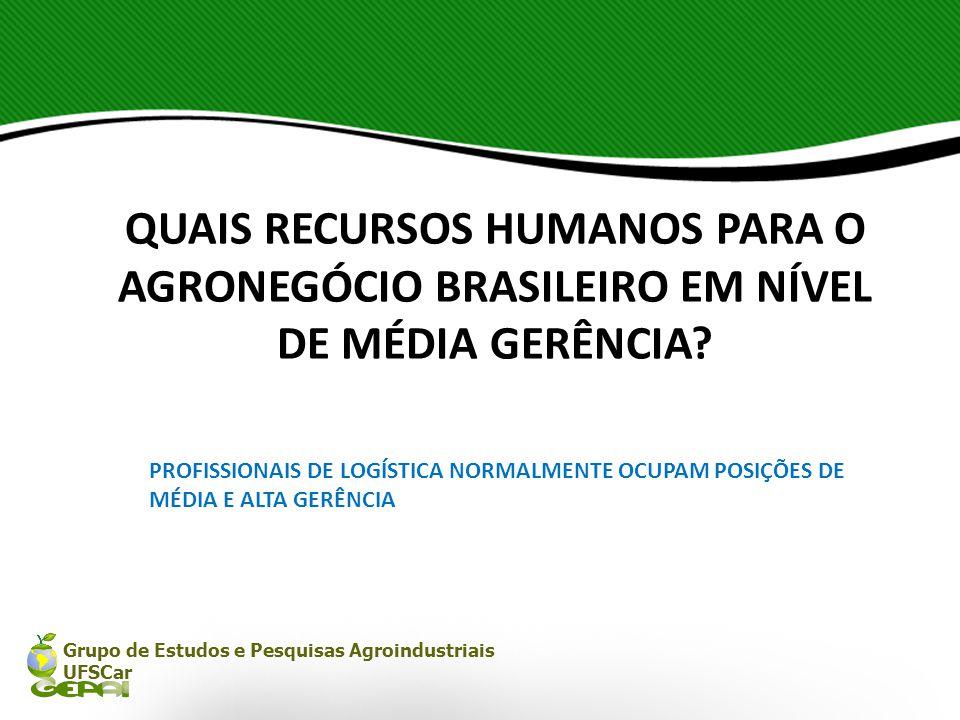 Grupo de Estudos e Pesquisas Agroindustriais UFSCar QUAIS RECURSOS HUMANOS PARA O AGRONEGÓCIO BRASILEIRO EM NÍVEL DE MÉDIA GERÊNCIA? PROFISSIONAIS DE