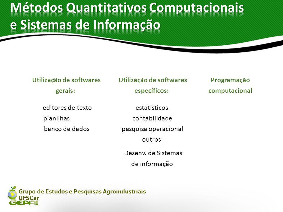 Grupo de Estudos e Pesquisas Agroindustriais UFSCar Utilização de softwares Programação gerais:específicos:computacional editores de textoestatísticos