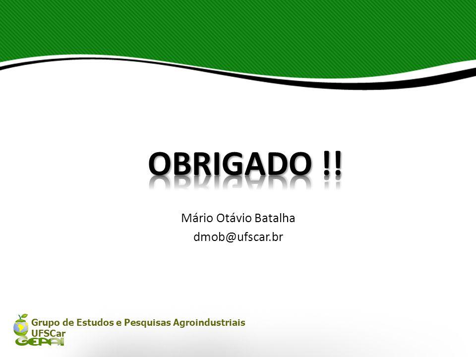 Grupo de Estudos e Pesquisas Agroindustriais UFSCar Mário Otávio Batalha dmob@ufscar.br