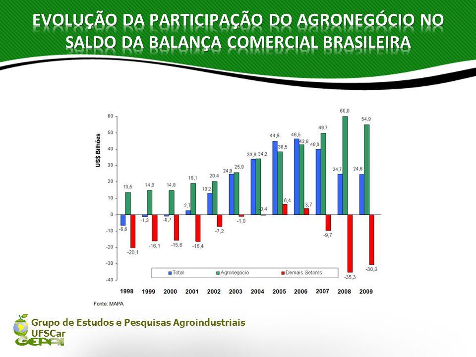 Grupo de Estudos e Pesquisas Agroindustriais UFSCar DISTRIBUIÇÃO DO SOLO (Milhões de hectares) 8,2% Área utilizada pela agricultura Floresta Amazônica35041,1% Pastagens em uso17520,6% Pastagens em transição455.3% Reservas Legais556,5% Lavouras anuais49*5,8% Culturas permanentes161,9% Cidades, lagos, estradas, etc.202,4% Florestas cultivadas50,6% Outros usos (reservas indígenas, etc) 485,6% Área disponível8810,3%